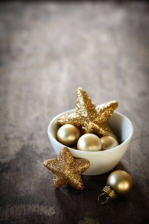 christmas time: Christmas decorations in bowl, copy space Stock Photo