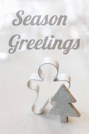 bodegones: Navidad todav�a la vida con el cortador de galletas, Ingl�s desea, saludos de la estaci�n