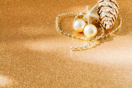 still lifes: Christmas decoration, golden, copy space Stock Photo