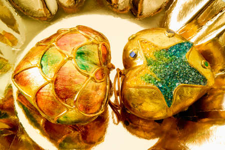 patina: Golden Christmas baubles with patina effect