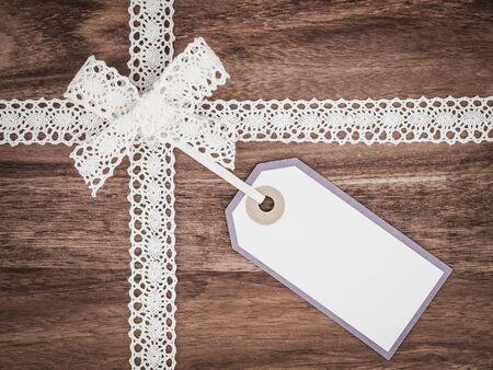 Kerstmis, kant, cadeau-tag, heden Stockfoto