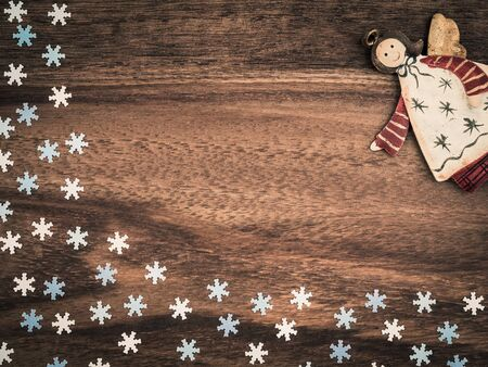 christmas paper: Christmas, paper snowflakes, angel, background wood, copy space Stock Photo