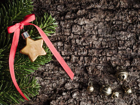 evergreens: Christmas decoration on bark, evergreens, star Stock Photo