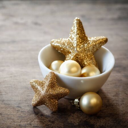 still lifes: Christmas decorations in bowl, copy space Stock Photo