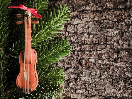 christmastime: Christmas decoration on bark, evergreens, violin Stock Photo