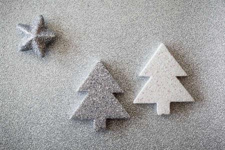 Christmas trees on shiny underground Stock Photo