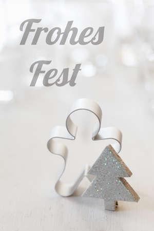 bodegones: Navidad todav�a la vida con el cortador, los deseos alemanes, Frohes Fest