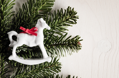 rocking: Christmas decoration, evergreens, white wood, rocking horse