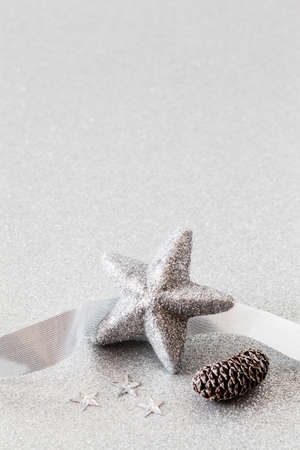 christmastime: Christmas arrangement with decorations in silver