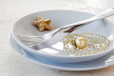 christmas time: Christmas time, decorated plate, cutlery Stock Photo