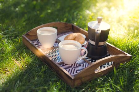 picknick: Picknick, coffee cups, espresso maker and cookies on tray