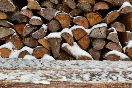 heap of snow: Wood pile