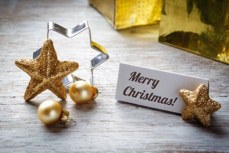 a place of life: Christmas still life on wood, place card, Merry Christmas
