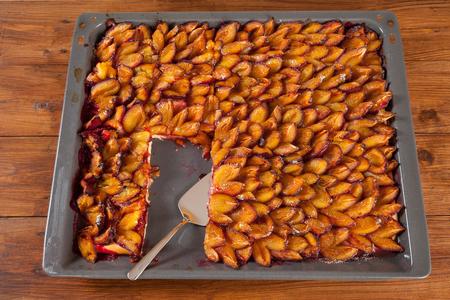 afters: Sheet cake, plum cake, piece, cake shovel Stock Photo