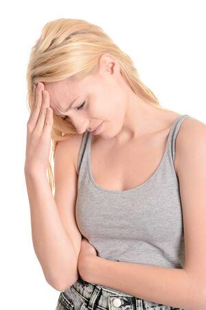 overstress: Young woman, headache