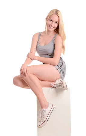 exhilaration: Happy blonde woman