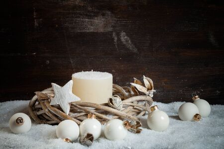 decorations wreaths: Christmas decoration, wreath with white candle, baubles, star