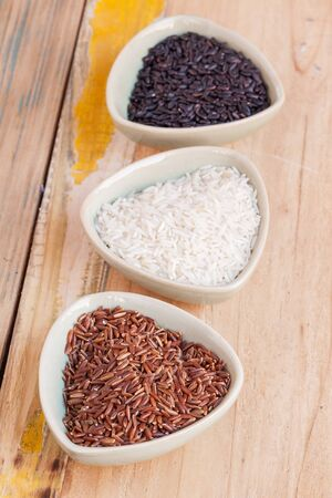 rouge et noir: Red, black and white rice in bowls