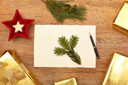 ballpen: Christmas presents, card and ballpen on wood