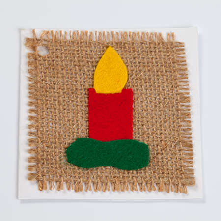 tinkering: Christmas card, candle on linen