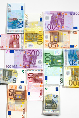 euro notes: Various euro notes as background