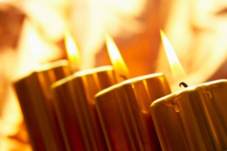 burning time: Christmas decoration, Candles Stock Photo