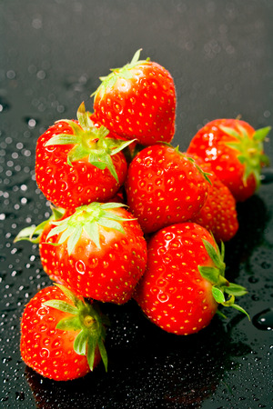 elevated view: Fresh strawberries, elevated view Stock Photo