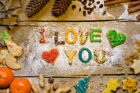 love card: Christmas, decoration, colorful letters of biscuit, Stock Photo