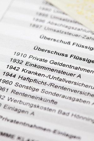 expenses: Form, various expenses written in german, detail, close up