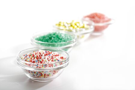 hundreds and thousands: Sugar beads in bowls Stock Photo