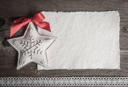 carte de Noël, décoration de noël, étoile et dentelle