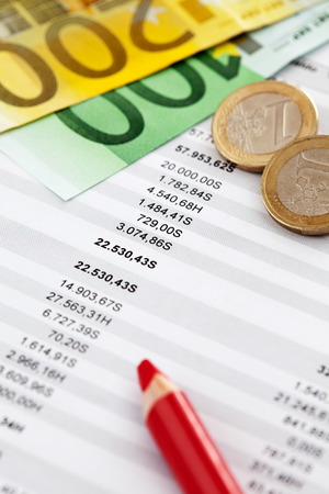 accounting: Euro notes and accounting document close up