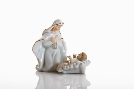 female likeness: Christmas decoration, crib figurines, Virgin Mary and jesus christ