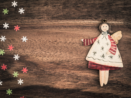 angel figurine: Christmas, paper snowflakes, angel, background wood, copy space Stock Photo