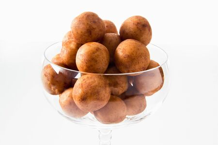 glass bowl: Marzipan potatoes in glass bowl