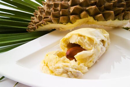 stinking: Durian fruit on plate