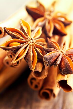to stick: Star anise and cinnamon sticks