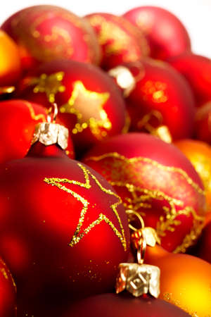 many christmas baubles: Red baubles