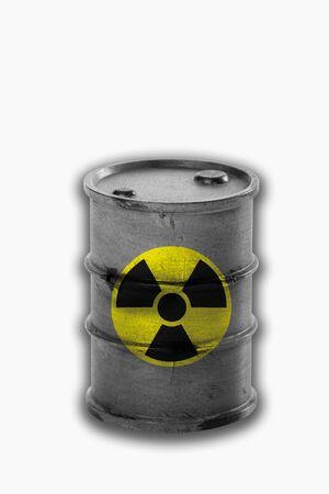 radiactividad: Barril con el signo de la radiactividad en el fondo blanco