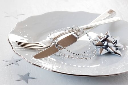 silver cutlery: Christmas time, decorated plate, cutlery Stock Photo
