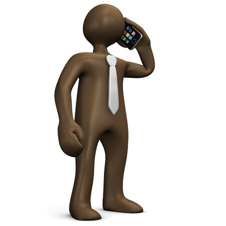 call outs: Businessman getting call on smrtphone, manikin on white background, 3D rendering