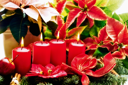 christmas in july: Christmas floral arrangement with red candels