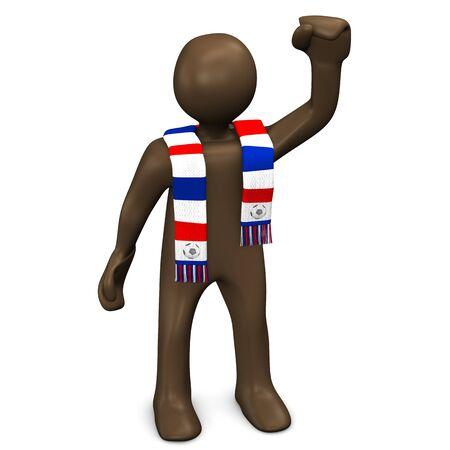 soccer fan: French soccer fan raising fist, manikin on white background, 3D rendering Stock Photo