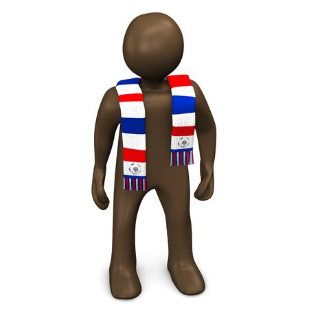 soccer fan: French soccer fan, manikin on white background, 3D rendering Stock Photo