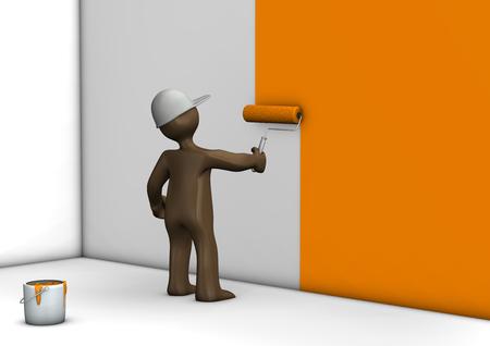 cartoon orange: Painter with paint roll painting wall orange, 3D rendering