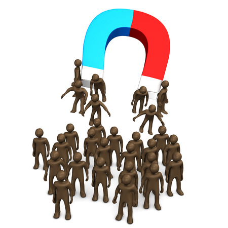 attracting: Magnet attracting manikins, white background, 3D rendering