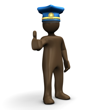 ok sign language: Police officer manikin giving thumbs up on white background, 3D rendering