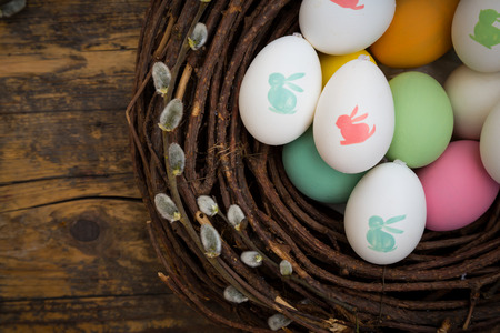 easter and egg: Easter decoration, Easter eggs, twigs on wood