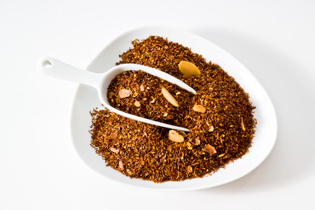 Rooibos tea with allmond and cocoa, amaretto cream aroma, bowl Stock Photo