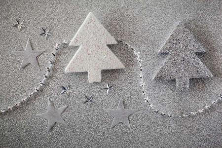 still lifes: Christmas trees on shiny background